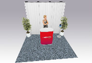 A simple tube and drape back drop for presentations