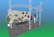 2 teir curved exhibition stand