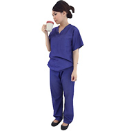 Woman in scrubs drinking (HD)
