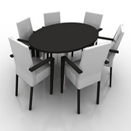 Table with 6 Chairs oval