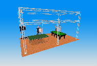 8m x 5m - 2 tier stand 4m high with three leg centre