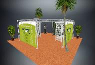 Open floor Island truss display stand