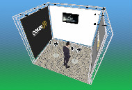 System 35 trio truss 3m x 4m x 3m high with apertures banners