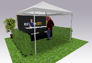 Printed gazebos for outdoor events.