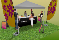Outdoor promotions, tents, flags and pavement signs.