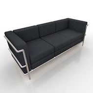 Monte Carlo White & Chrome Modern Sofa (Accent Furnishings)