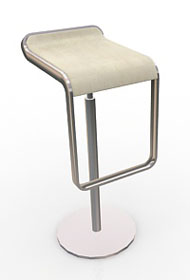 White & Chrome Curve Bar Stool (Accent Furnishings)